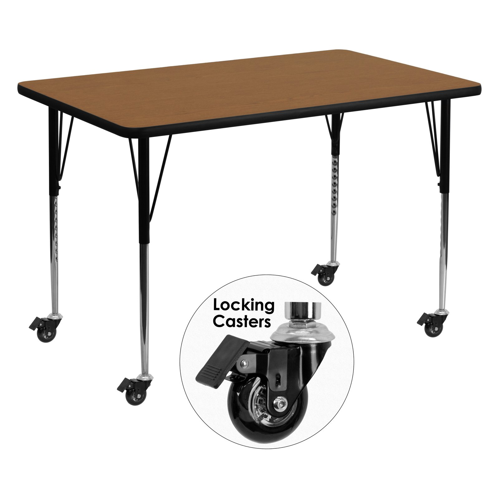 Flash Furniture Mobile 36''W x 72''L Rectangular Activity Table with Oak Thermal Fused Laminate Top and Standard Height Adjustable Legs
