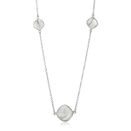 Green Rutilated Quartz Necklace - Sterling Silver Rhodium Plated Green Rutilated Quartz Cushion Station Necklace - 36