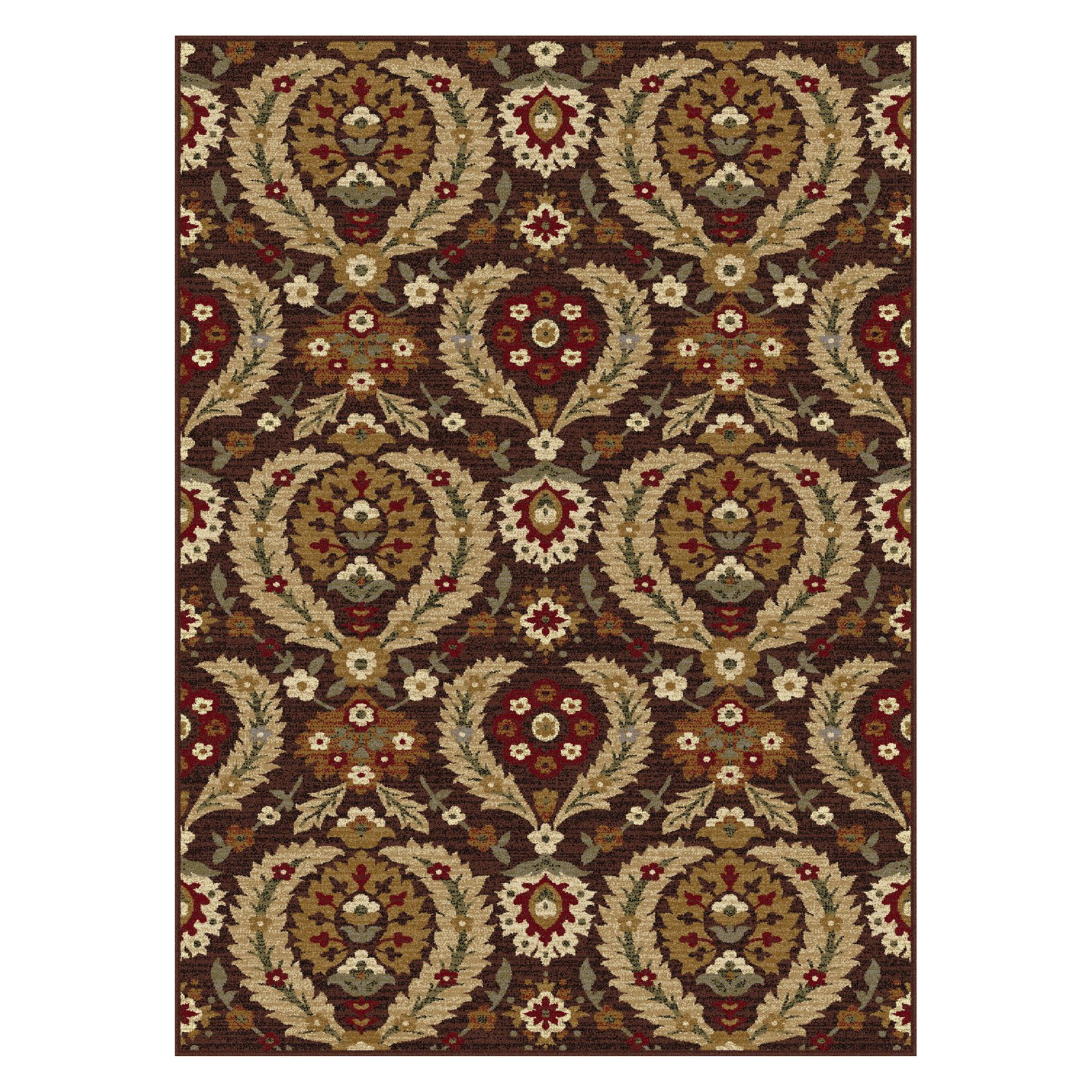 Tayse Impressions Area Rugs - 7878 Transitional Casual Brown Vines Leaves Circles Rug