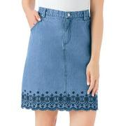 Women's Trendy Embroidered Floral Border Scalloped Denim Skirt with Elastic Waistband, Denim Blue, Large