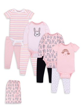 Little Star Organic Baby Girl Pure Organic Outfits, Gift Sets, 8 Piece