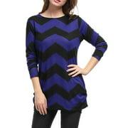 Women Chevron Pattern Knitted Tunic Tops
