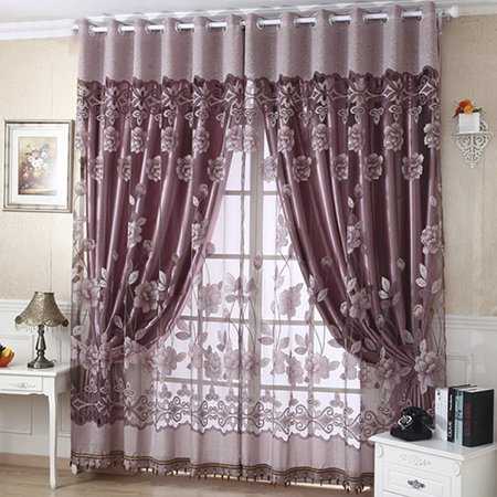 - NK Grommet Tulle With Beads Bedroom Curtain Door Window Drape Panel Sheer Scarf Valances Divider Room Decorative 1x2.5m Luxury Floral Purple Coffee