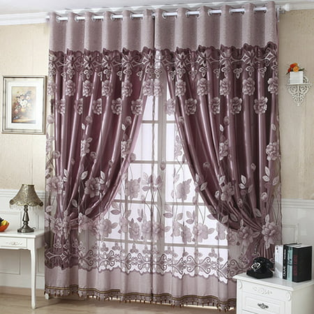 NK Grommet Tulle With Beads Bedroom Curtain Door Window Drape Panel Sheer Scarf Valances Divider Room Decorative 1x2.5m Luxury Floral Purple Coffee ()