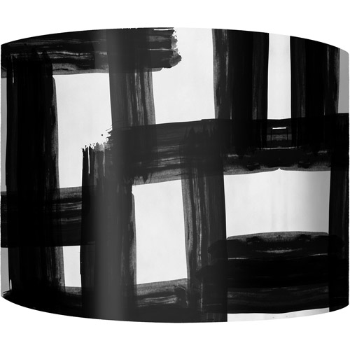 "12"" Drum Lamp Shade, Black and White Checkers"