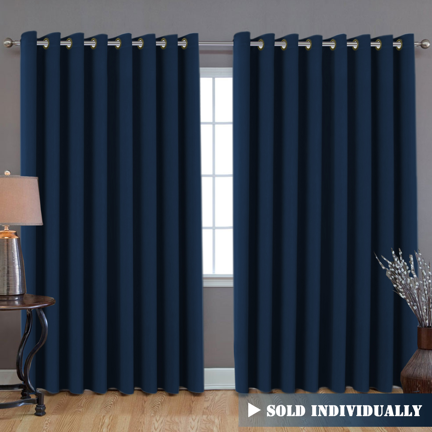 H Versailtex Ultra Blackout Wider Curtains Extra Long And Wide Thermal Insulated Large Window Panels 100 W X 108 L Premium Room Divider 9 Tall By 8 5 Wide Navy Blue Walmart Com