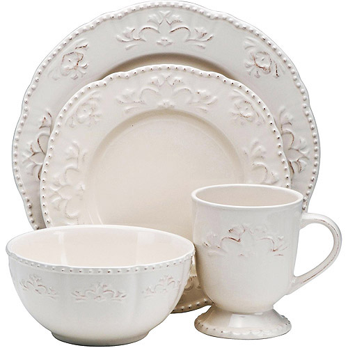 Beau Better Homes And Gardens Medallion Wreath 16 Piece Dinnerware Set, Cream  Mist