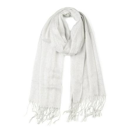 Shiny Glitter Shawl Wrap Scarves with Tassel for Women Men White - image 1 of 1