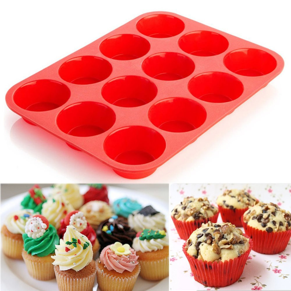 12 Cup Silicone Muffin Cupcake Baking Pan Non Stick Dishwasher Microwave Safe