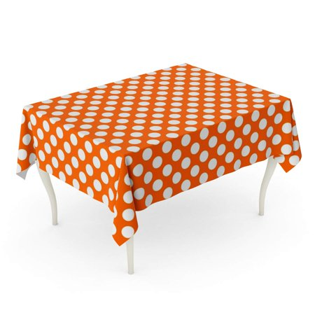 KDAGR Red Preppy Pattern White Polka Dots on Orange Yellow Tablecloth Table Desk Cover Home Party Decor 60x104 inch