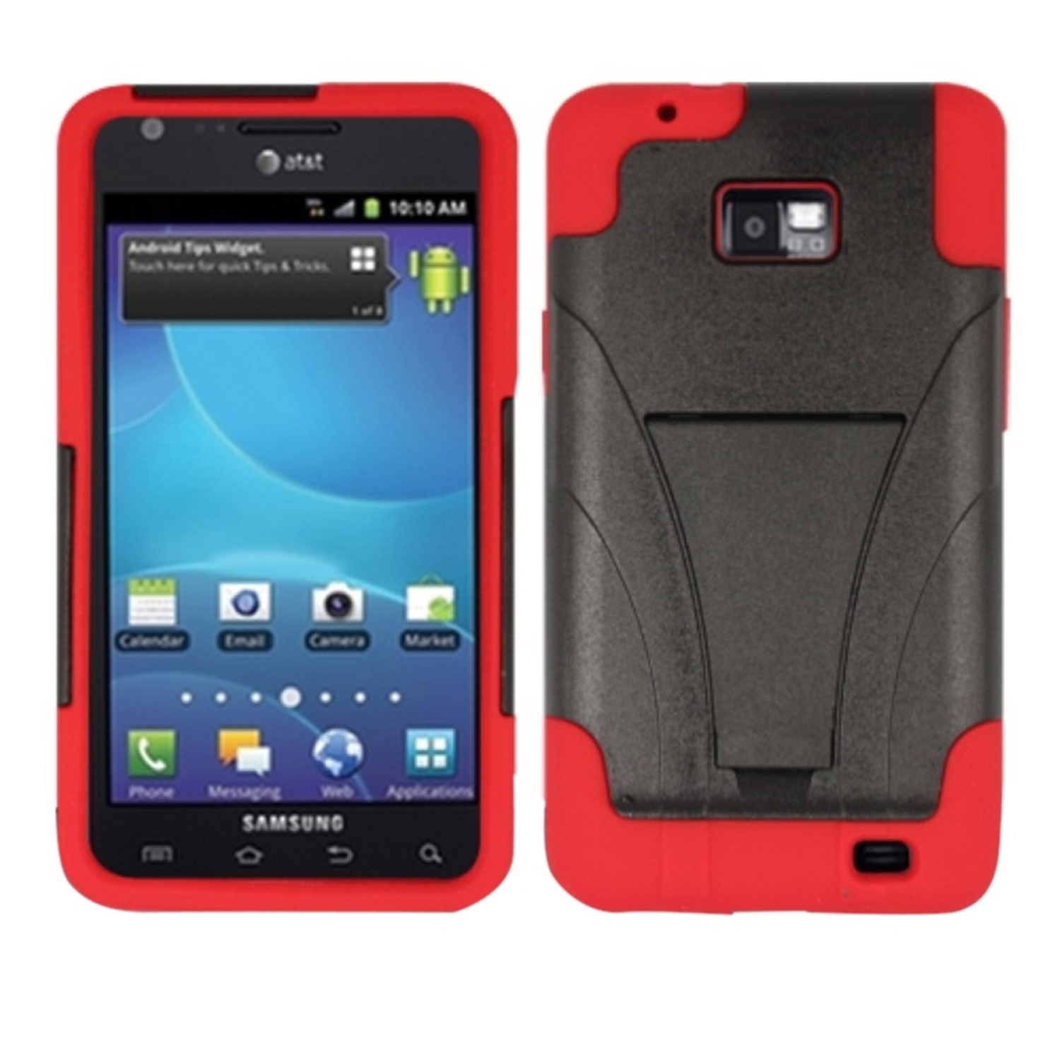 Insten For Samsung Galaxy S II i777 PC+Silicone 2-Layer Hybrid Hard Shockproof Case with Kickstand - Red