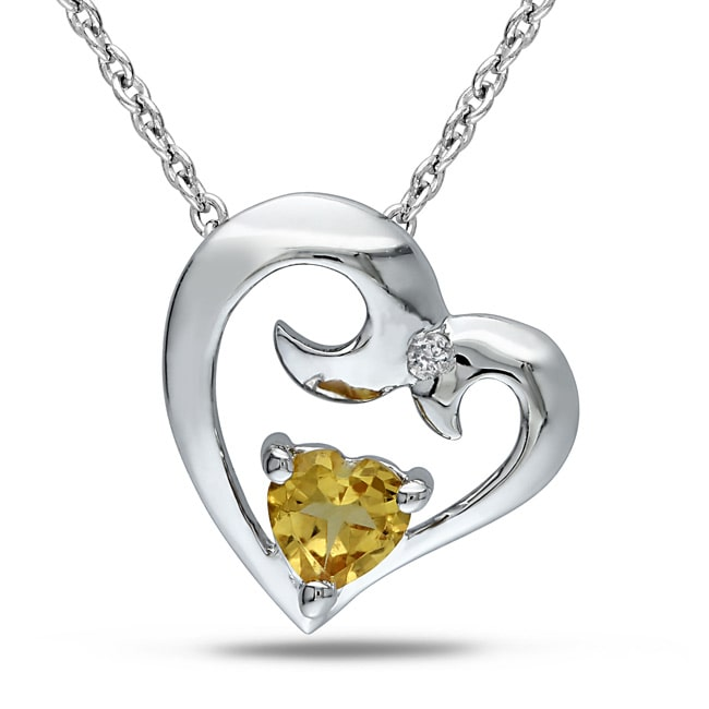 Miadora  Sterling Silver Citrine and Diamond Accent Heart Necklace
