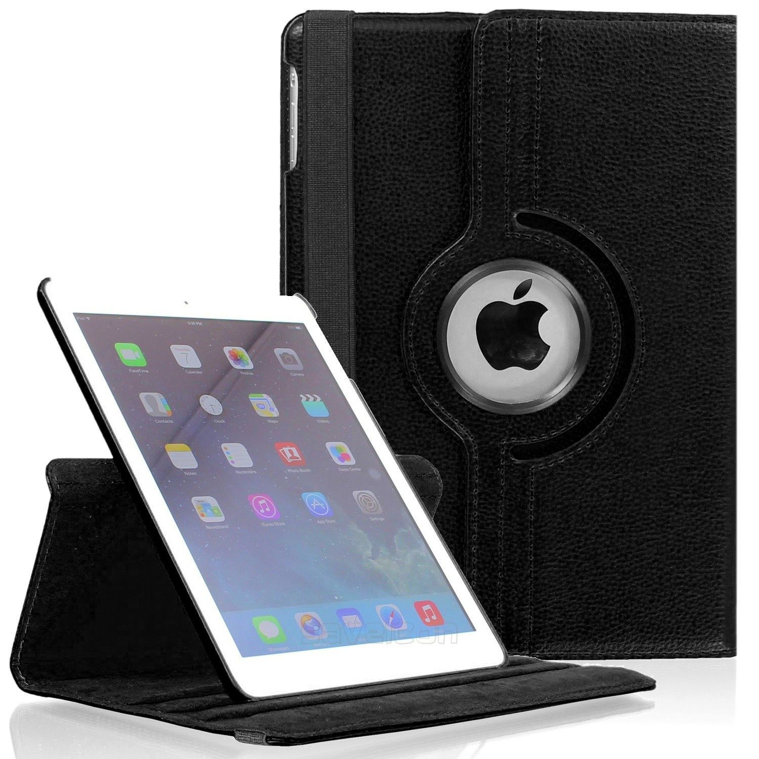 iPad Mini 4 (4th Generation) 7.9 Inch Case by KIQ 360 PU Leather Swivel Case Rotating Fitted Slim Cover Multi-View For Apple iPad Mini 4 4th Gen, Black