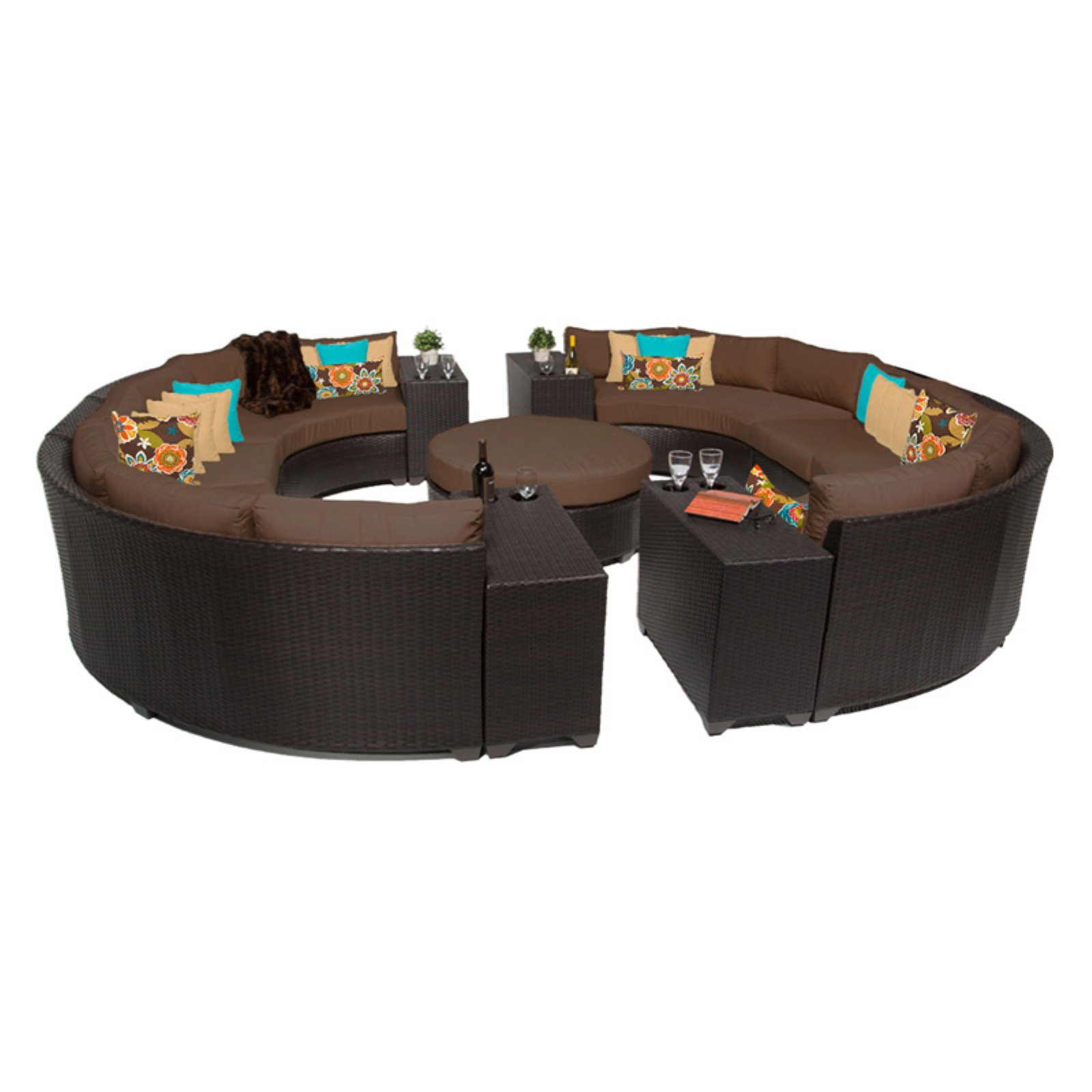 TK Classics Barbados Wicker 11 Piece Patio Conversation Set with Cup Table with 2 Sets of Cushion Covers by TK Classics