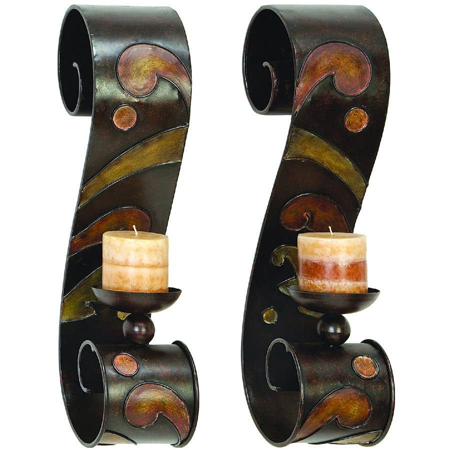 Decmode Metal Candle Sconce Pair, Multi Color