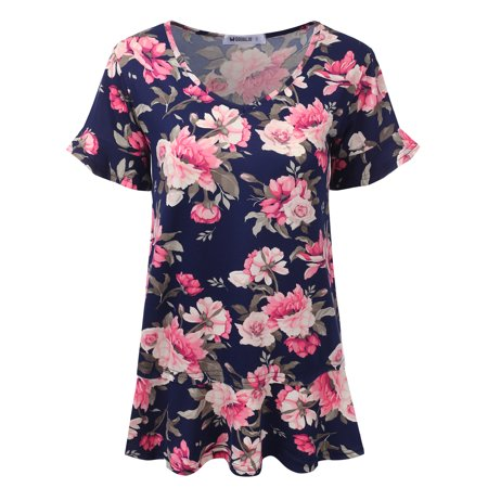 21d1769ae0a Doublju - Doublju Women s Short Sleeves Flare Tunic Tops for Leggings Flowy  Shirt NAVYPINK 3XL Plus Size - Walmart.com
