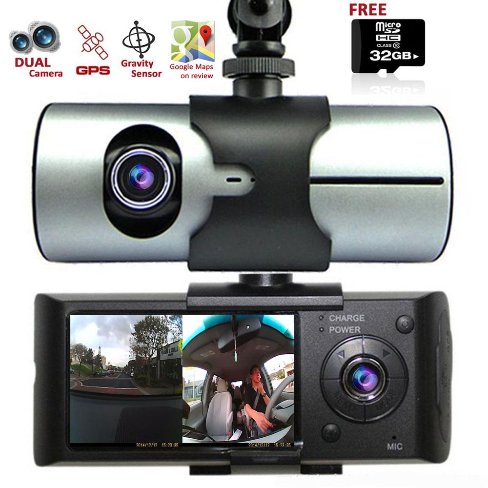 """Indigi® XR300 DashCam Car DVR w/ [Front+Rear Cameras] + 2.7"""" Split Screen LCD w/ GPS Tracking + 32gb microSD included"""