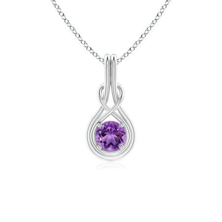 - Valentine Jewelry Gift - Round Amethyst Solitaire Infinity Knot Pendant in 14K White Gold (5mm Amethyst) - SP0566AM-WG-AA-5
