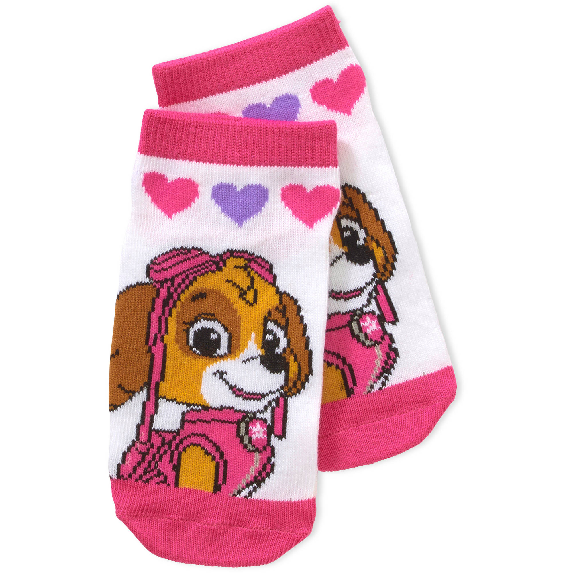 Nickelodeon Paw Patrol Toddler Girl No Show Socks, 3-Pack