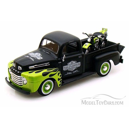 1948 Ford F-1 Pickup Harley-Davidson & 1948 FL Panhead Motorcycle, Black with Green Flames - Maisto 32171BK - 1/24 scale Diecast Model Toy Car -  ModelToyCars