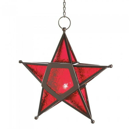 RED GLASS STAR LANTERN ()