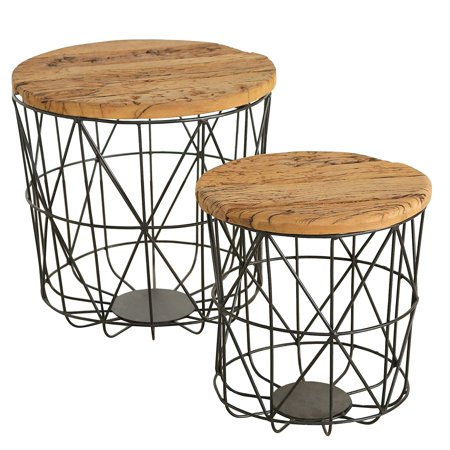 Reclaimed Railway Basket Bottom Tables, Set of 2, Wood, Iron, Removable Tops, Industrial Style, Distressed Vintage Finish, 17.75 and 13.75 Inches ()