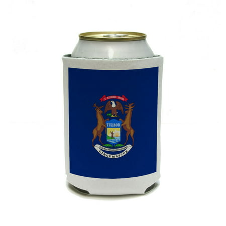 Michigan State Flag Can Cooler Drink Insulator Beverage Insulated Holder (3/8 Th Inch Insulators)