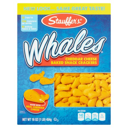 Merlot Cheddar - (2 Pack) Stauffer's Whales Cheddar Cheese Baked Snack Crackers, 16 oz