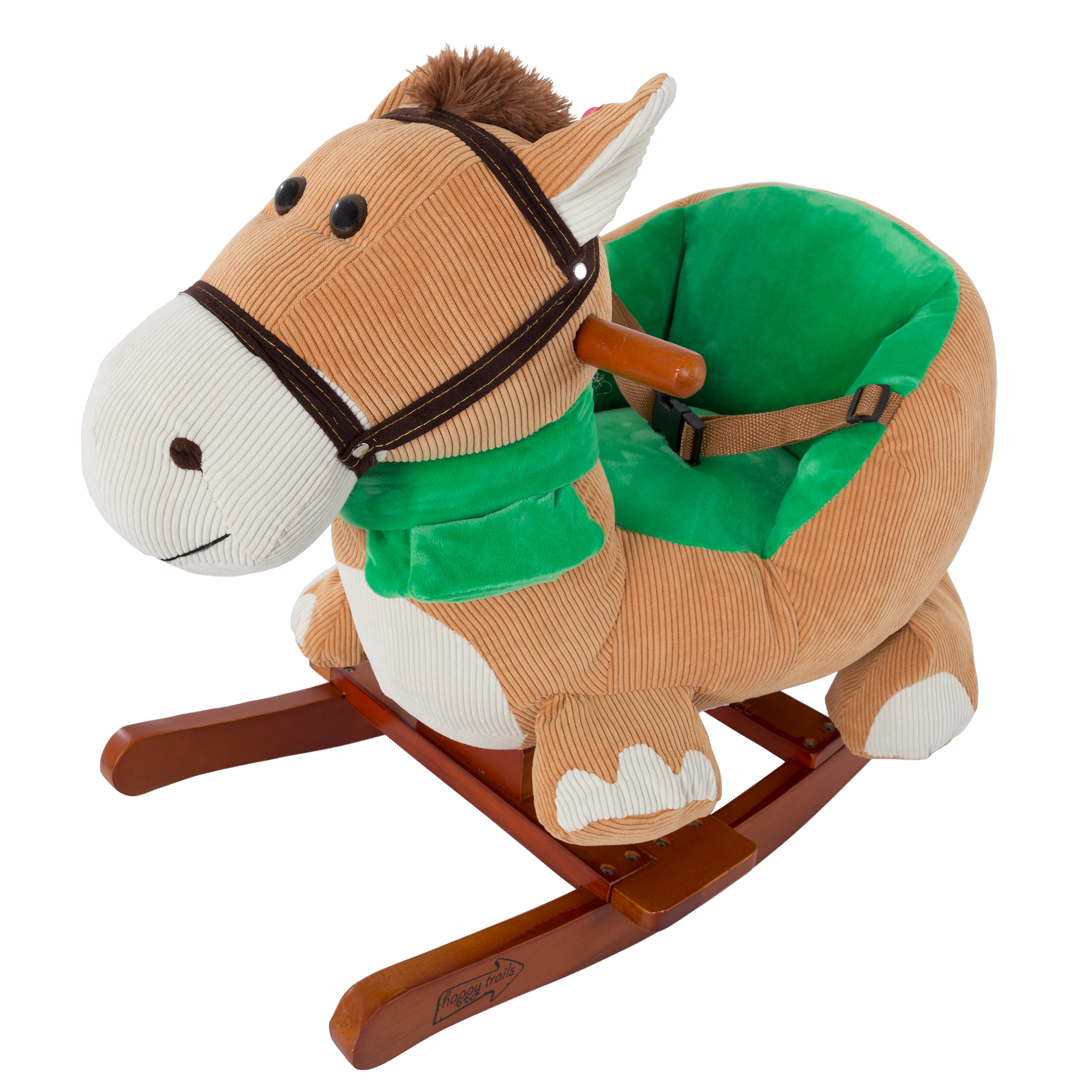 Rocking Horse Plush Animal on Wooden Rockers with Seat & Seat Belt and Sounds, Ride on Toy for Babies 1-3 Years, by Happy Trails