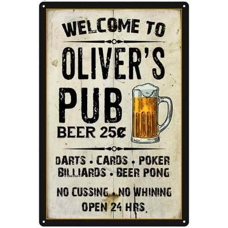 OLIVER'S Pub Sign Vintage Man Cave Bar 8 x 12 High Gloss Metal (Vintage Oliver Sign)