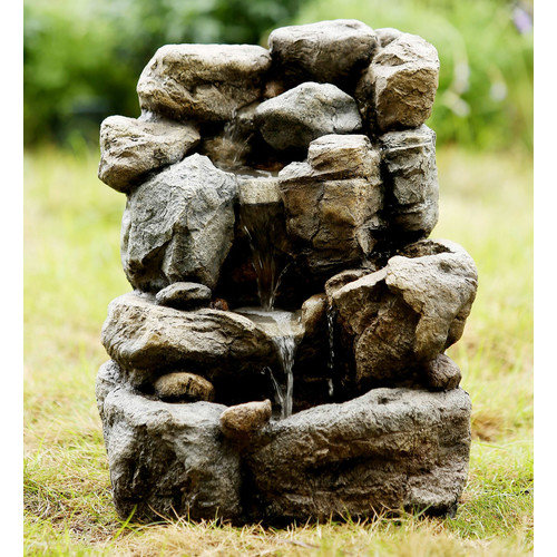 Jeco Inc. Polyresin and Fiberglass Small Rock Water Fountain