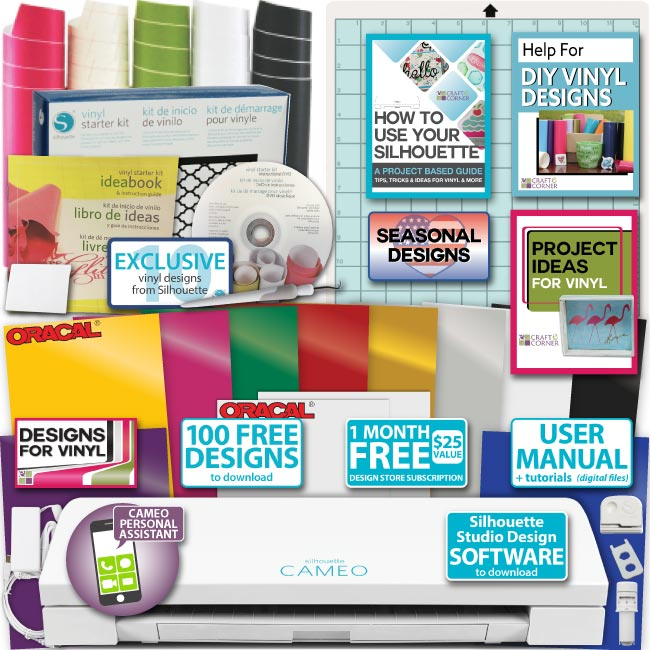 Silhouette Cameo 3 Machine Bundle Starter Vinyl 10 Oracal Sheets Designs Tools
