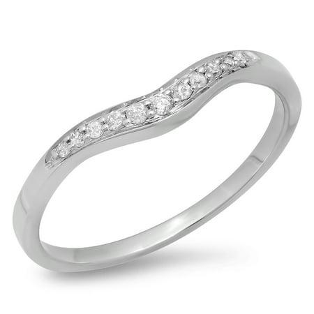 0.11 Carat (ctw) 18K Gold Round Cut White Diamond Ladies Wedding Stackable Contour Guard Band