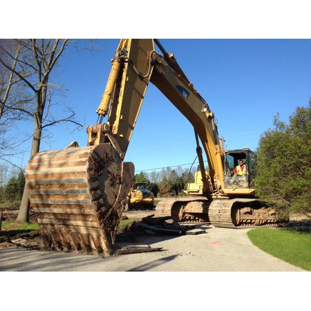 Canvas Print Backhoe Working Big Backhoe Precision Equipment Work Stretched  Canvas 10 x 14