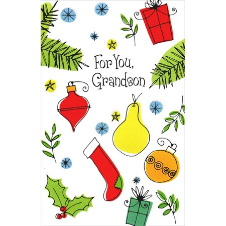 Freedom Greetings Ornaments, Presents, and Stocking: Grandson Christmas (Card Symbols Stockings)