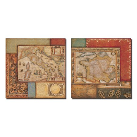 Vintage Old Fashioned Renaissance Map  Two 12X12in Poster Prints