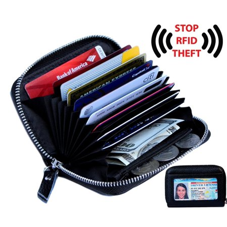 wallets for women Women's Genuine Leather Credit Card Holder RFID Secure Spacious Cute Zipper Card Wallet Small Purse with ID - Small Purse Wallet