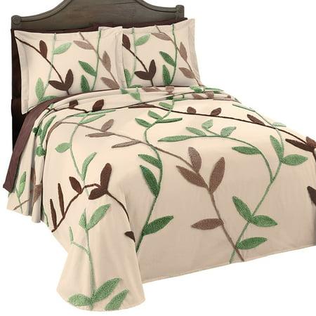 wandering vines elegant chenille lightweight bedspread king green. Black Bedroom Furniture Sets. Home Design Ideas