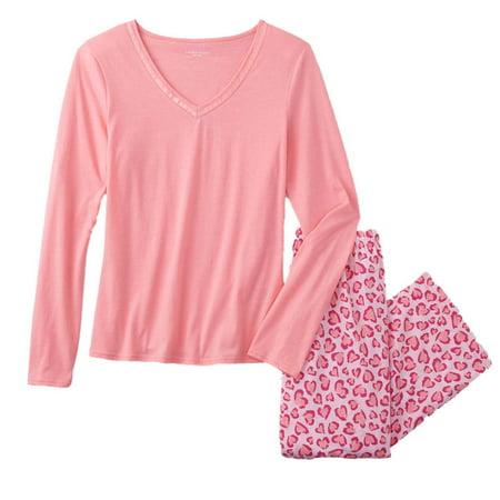 Laura Scott Womens Pink Leopard Heart Print Pajamas Lightweight Sleep Set