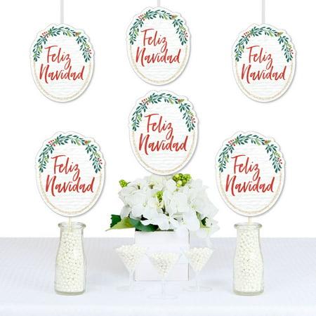Feliz Navidad - Wreath Decorations DIY Holiday and Spanish Christmas Party Essentials - Set of 20 - Feliz Navidad Decorations