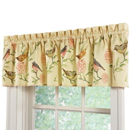 Dark Pocket - Springtime Birds And Blooms Rod Pocket Window Valance, Green