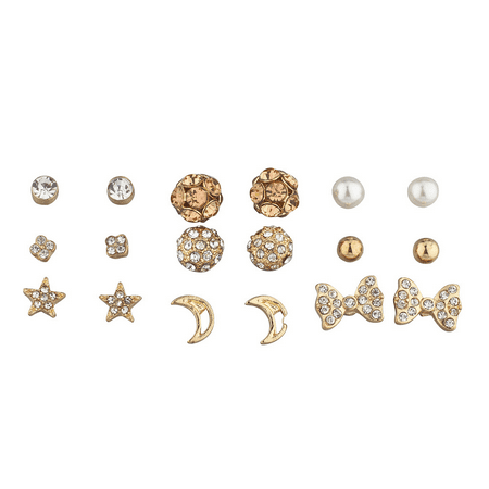 Lux Accessories goldtone Pave Pearl Novelty Celestial Multi Earring Stud 9pcs