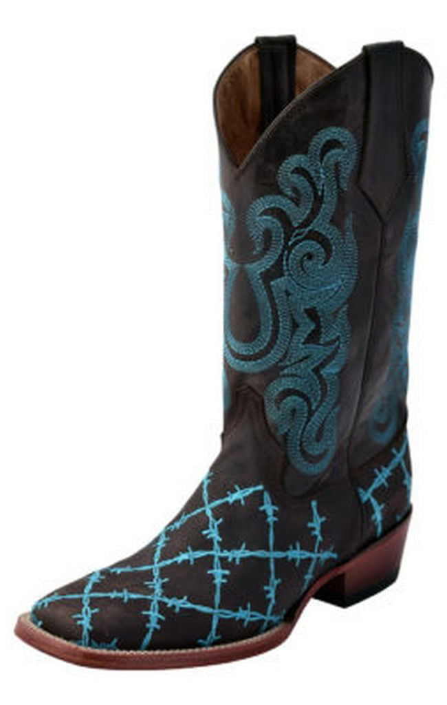 Ferrini Western Boots Men Barbed Wire Square Pull Strap Lined 11293 by Ferrini