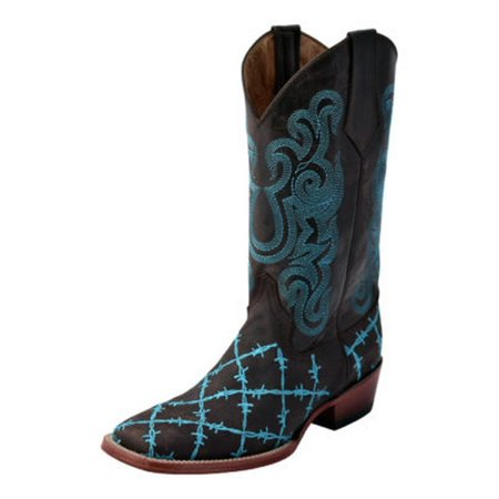 Ferrini Western Boots Men Barbed Wire Square Pull Strap Lined
