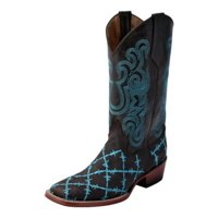 Ferrini Western Boots Men Barbed Wire Square Pull Strap Lined 11293