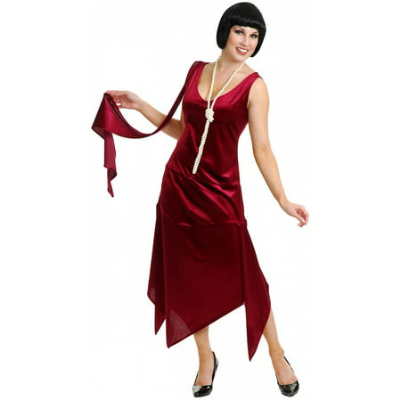 3x Costume (Sandy Speak Easy Flapper Adult Costume Wine - Plus Size)