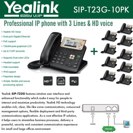 Yealink IP Phone VoIP SIP-T23G (10 Units) Dual-port Gigabit 3-Line (Voip Ip Telephone System)