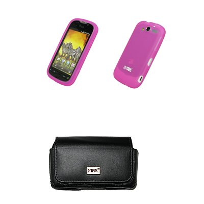 Empire Black Leather (EMPIRE Black Leather Case Pouch with Belt Clip and Belt Loops + Hot Pink Silicone Skin Cover Case + Screen Protector for T-Mobile HTC myTouch 2010 )