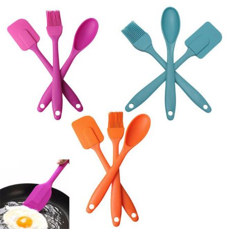 3PCS Silicone Spatula Spoon Brush Set Cooking Utensil Tool Kit Heat Resistant - Cooking Kit