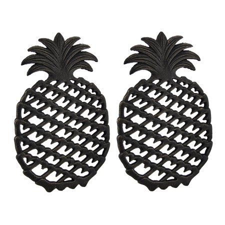 2 Piece Antique Bronze Finish Tropical Pineapple Cast Iron Trivet Set Antique Cast Iron Trivet